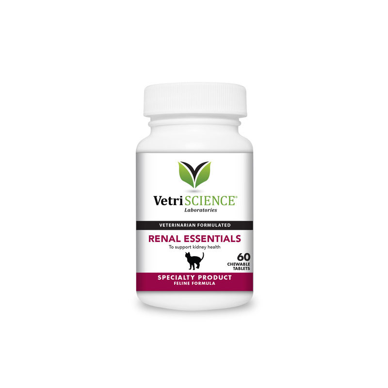 VetriScience Feline Renal Essentials Chewable Tablets For Cats 60ct
