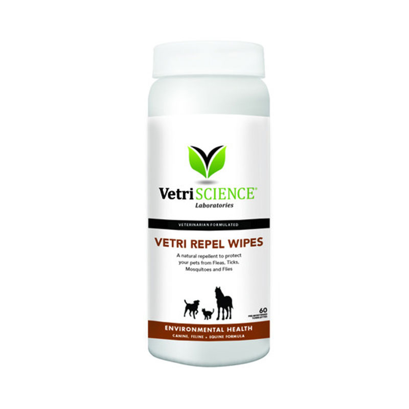 VetriScience Vetri Repel Wipes For Cats Dogs Horses 60ct Pack of 3