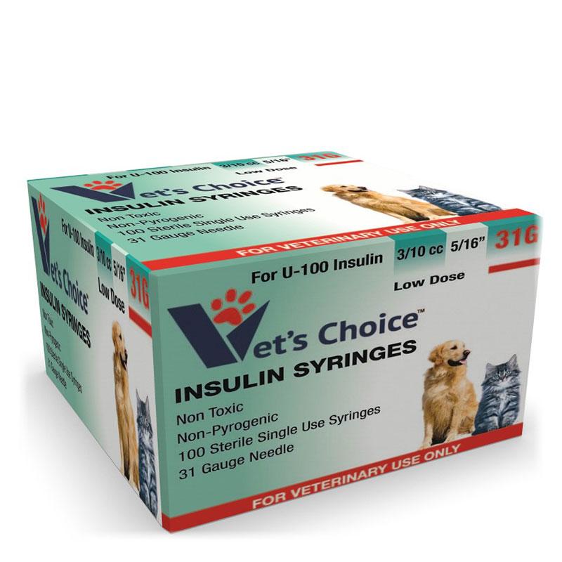 Vet's Choice U-100 Pet Insulin Syringes 31G 3/10cc 5/16