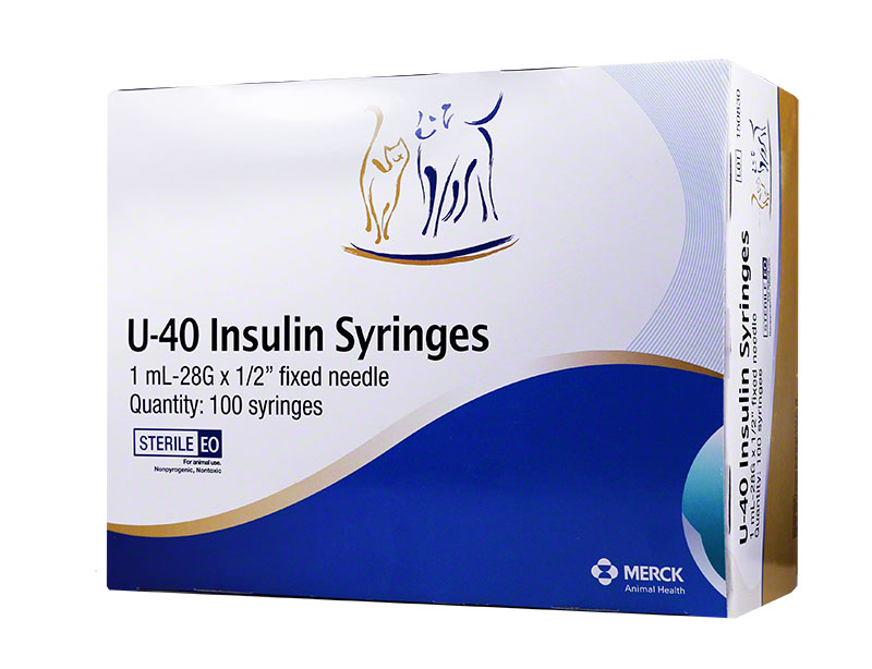 Vetsulin U-40 Pet Syringes 28G, 1cc, 1/2