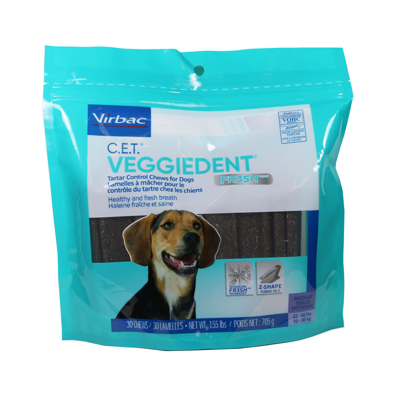 Virbac CET VeggieDent Tartar Control Medium Chews For Dogs - 30/bg